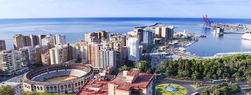 El puerto de Málaga desde Gibralfaro